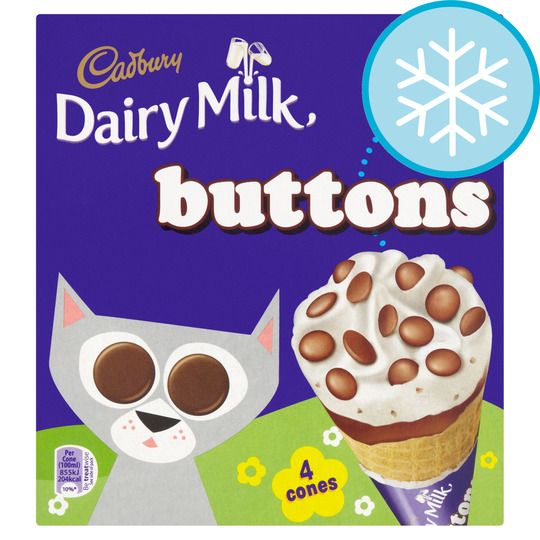 Cadbury Buttons Ice Cream Cone 4pk
