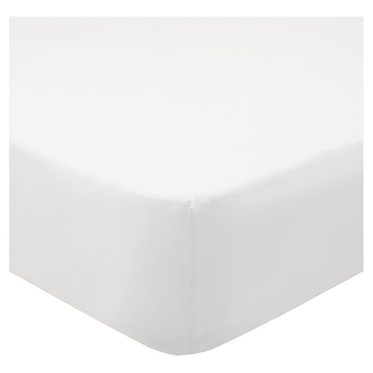 Tesco 100% Cotton White Fitted Sheet Single