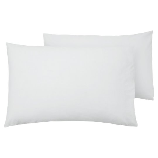 Tesco 100% Cotton White Pillow Case Pair